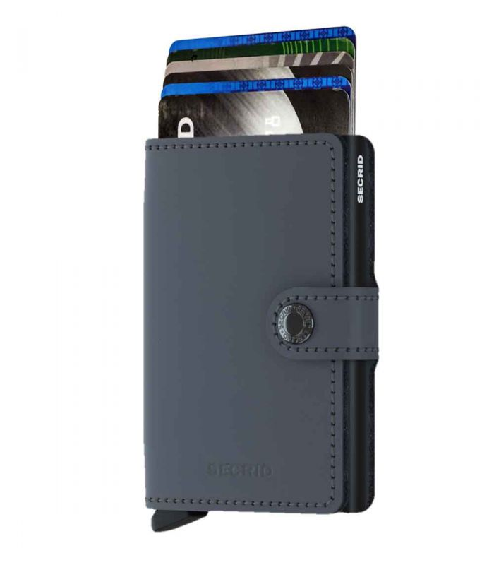 SECRID - Secrid mini wallet leer mat grijs-zwart