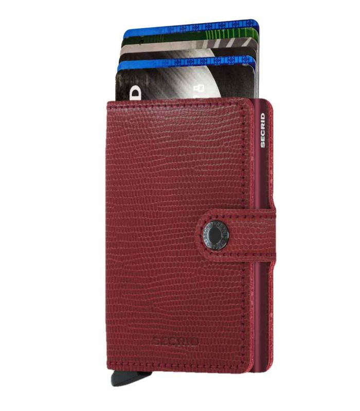SECRID - Secrid mini wallet leer Rango rood bordeaux