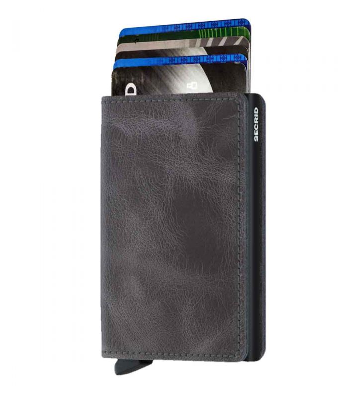 SECRID - Secrid slim wallet leer vintage grijs-zwart