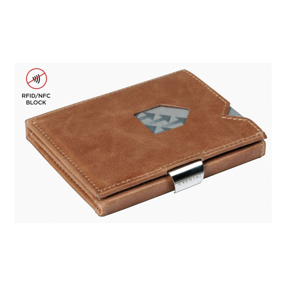 7d6b36fa6a79 Exentri - Exentri slim wallet leather solid Sand brown with RFID block ...