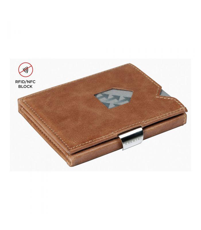 Exentri - Exentri slim wallet leer glad cognac bruin met RFID bescherming