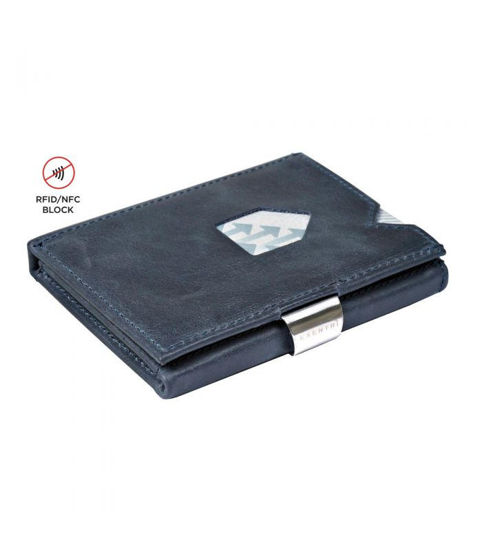 Exentri - Exentri slim wallet leer vintage blauw met RFID bescherming