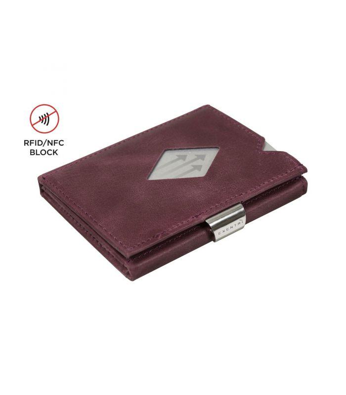 Exentri - Exentri slim wallet leer paars met RFID bescherming