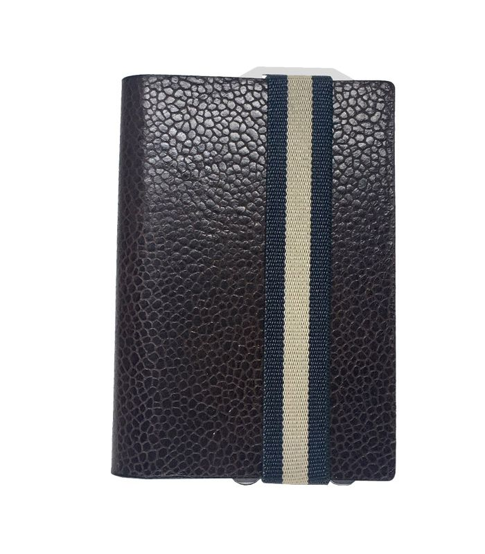 Q7-WALLET - RFID slim wallet leer-elastiek classy bruin blauw
