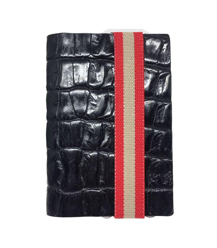 Q7-WALLET - RFID slim wallet leer-elastiek croco zwart rood