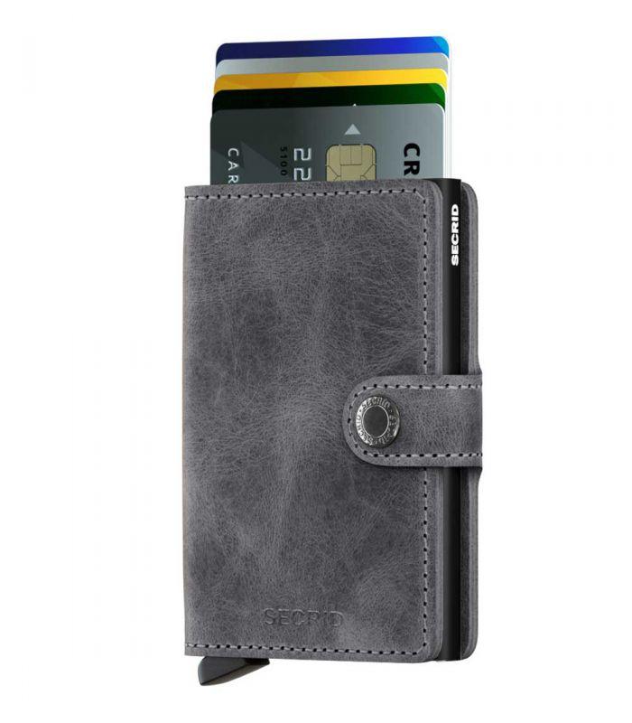 SECRID - Secrid mini wallet leer vintage grijs zwart