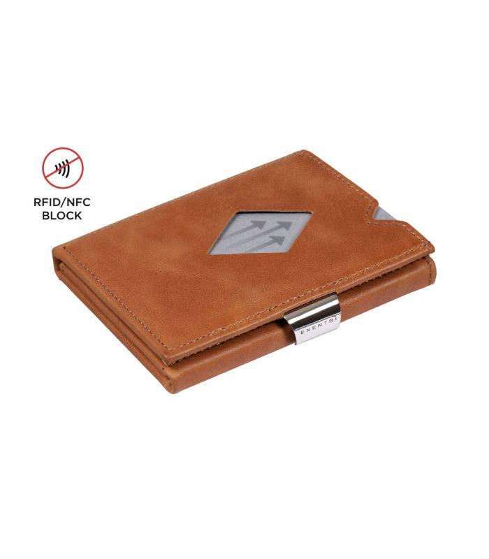 Exentri Exentri multi wallet leer zand met RFID bescherming en muntvak