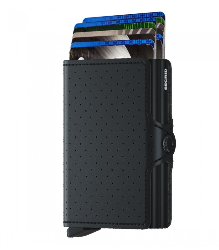 Secrid twin wallet leer perforated zwart