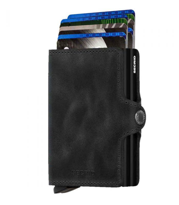 SECRID - Secrid twin wallet leer vintage zwart